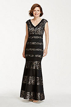 Lace Mermaid Gown with Satin Bands and V Neckline 1PUC05I