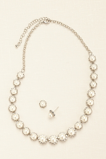 Pearl and Crystal Flower Line Set 20003359ST