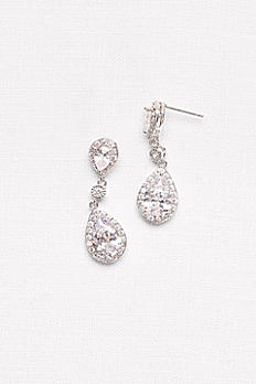 Cubic Zirconia Halo Teardrop Earrings 20070521