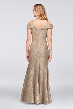 Cold Shoulder Glitter Lace Mermaid Dress David S Bridal