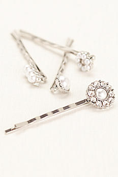 Pave and Pearl Set of Hairpins 20993235