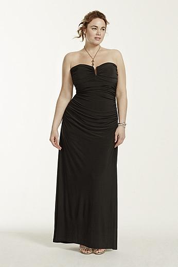 Deep V-Bar Strapless Jersey Dress 211S64480W