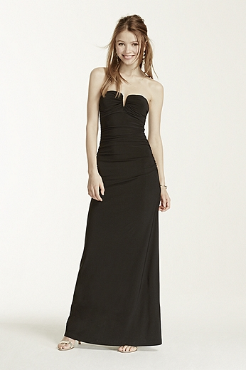 Deep V-Bar Strapless Jersey Dress 211S64480