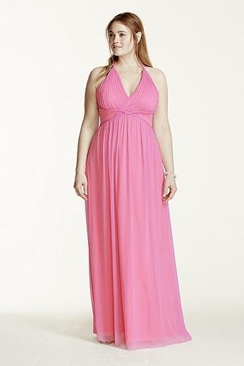 Two Tone Plunge Neckline Braided Detail Dress 211S65220W