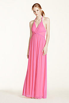 Two Tone Plunge Neckline Braided Detail Dress 211S65220