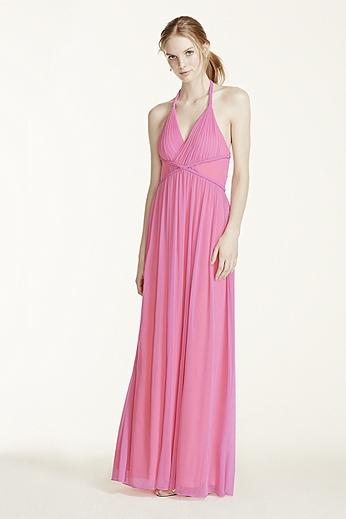 Two Tone Plunge Neckline Braided Detail Dress 211S65220