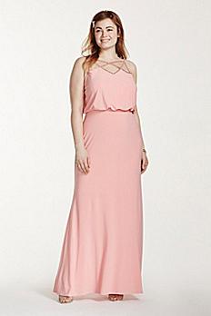Rhinestone Spaghetti Strap Blouson Jersey Dress 211S65260W