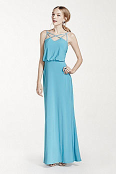 Rhinestone Spaghetti Strap Blouson Jersey Dress 211S65260