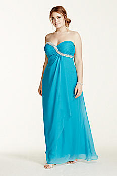 Strapless Crystal Embellished Chiffon Dress 211S65920W