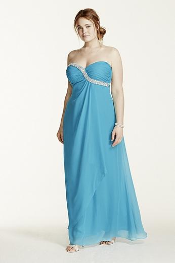 Strapless Crystal Embellished Chiffon Dress 211S65920W