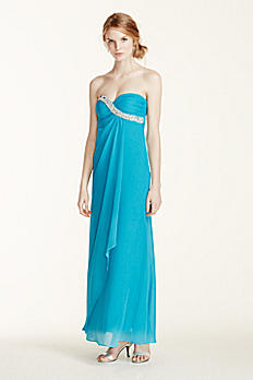 Strapless Crystal Embellished Chiffon Dress 211S65920