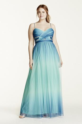 Spaghetti Strap Cutout Ombre Ball Gown 211S68480W