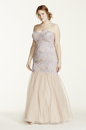 Strapless Lace Applique Fit and Flare Dress 211S69300W