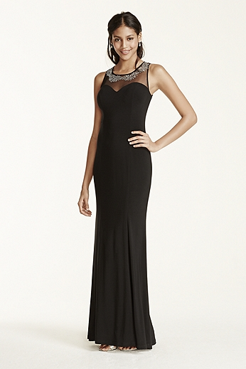 Stone and Pearl Embellished Illusion Jersey Dress 211S70570