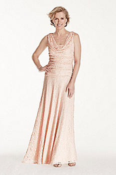 Long Glitter Lace Dress with Cowl Neckline 21256