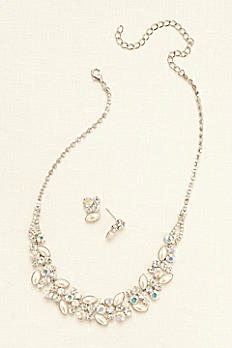 Pearl Crystal and Stone Necklace and Earring Set 2126721