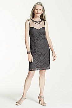 Sleeveless Lace Dress with Illusion Beaded Neck 21288