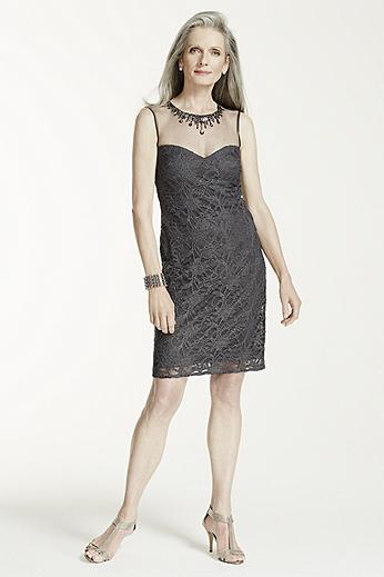 Sleeveless Lace Dress with Illusion Beaded Neck 21288