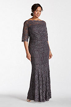 Long All Over Glitter Lace Mermaid Dress 21301DW