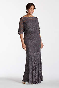 Long Mermaid/ Trumpet Elbow Sleeves Mother and Special Guest Dress - David's Bridal