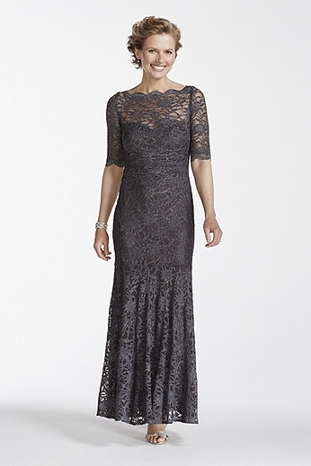 Long All Over Glitter Lace Mermaid Dress 21301D