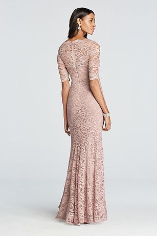 David S Bridal Long All Over Glitter Lace Mermaid Dress