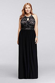 Lace Keyhole Halter Neckline Dress 21348DW