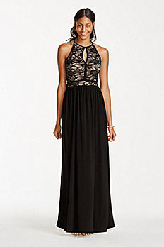 Lace Keyhole Halter Dress with Jersey Skirt 21348