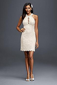Short Halter Wedding Dress with Keyhole Cutout 21395D