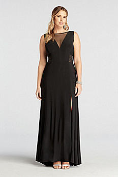 Sleeveless Long Jersey Dress with Illusion Neck 21401W