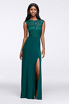 Banded Lace Cap-Sleeve Long Dress 21457