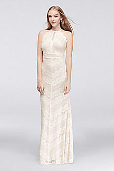 Floral Lace Cross-Back Halter Gown 21524