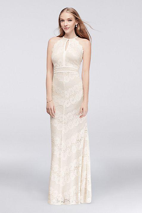 Floral Lace Cross-Back Halter Gown | David\'s Bridal