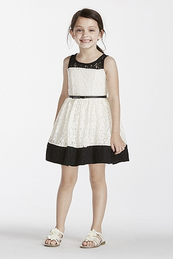 Allover Lace Sheath with Belt at Waist 2153041
