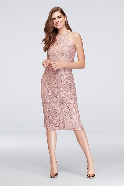 High-Neck Sequined Lace Cocktail Dress | David\'s Bridal