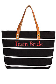 Personalized Striped Tote with Leather Handles 2165