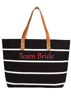 Personalized Striped Tote with Leather Handles