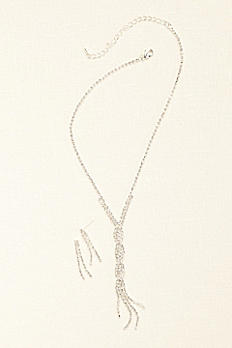 Twisted Crystal Y Necklace and Earring Set 2172211