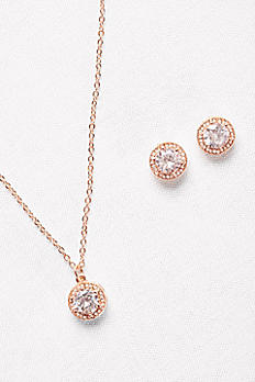 Raised-Setting Solitaire Necklace and Earrings Set 22295S