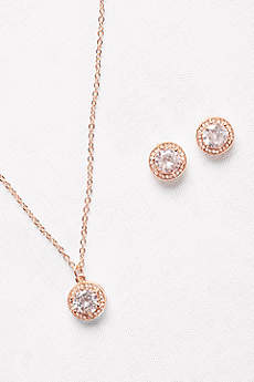 Raised Cubic Zirconia Necklace and Earring Set