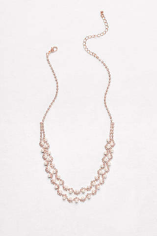 Bridal wedding necklaces davids bridal pearl and crystal double strand necklace junglespirit Image collections