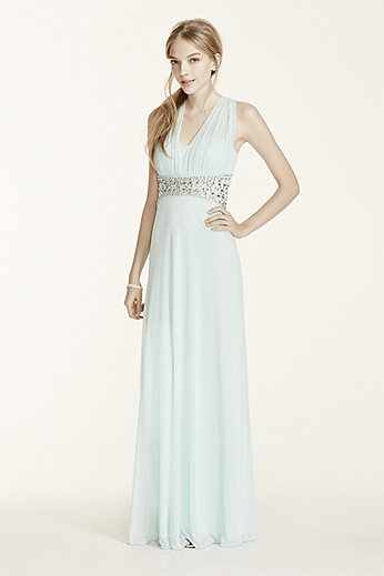 Beaded Waist Open Back Halter Jersey Dress 2254SJ8S
