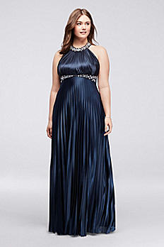 Strappy Back Pleated Halter Plus Size Prom Dress 2275SK8SW