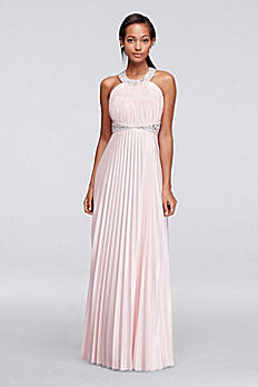 Beaded Strappy Back Halter Prom Dress with Pleats 2275SK8SD
