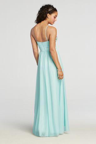 Floor Length Halter Mesh Prom Dress with Beading | David's
