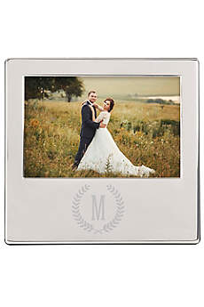 Personalized Wreath Engraved Silver Picture Frame