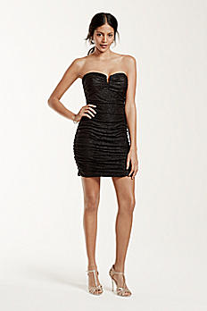 Strapless Short Ruched Foil V-Bar Dress 231M58670