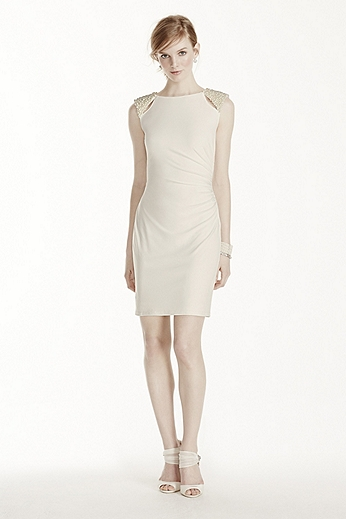 Short Jersey Dress with Cutout Pearl Shoulders 231M68710