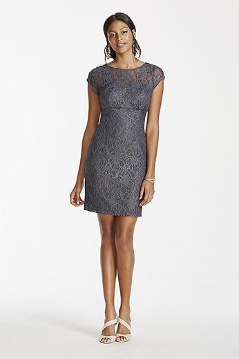 Cap Sleeve Illusion Neckline Short Lace Dress 231M71740