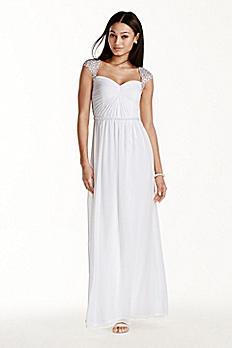 Beaded Cap Sleeve Chiffon A-line Dress 231M72420